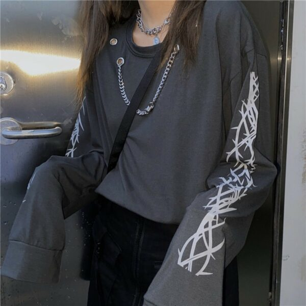 Chest Chain Thorns Grunge Long Sleeve 2- Orezoria Aesthetic Outfits Shop - Aesthetic Clothing - eGirl Outfits - Soft Girl Outfits