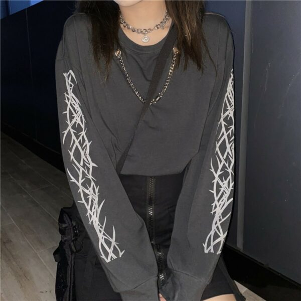 Chest Chain Thorns Grunge Long Sleeve 3- Orezoria Aesthetic Outfits Shop - Aesthetic Clothing - eGirl Outfits - Soft Girl Outfits