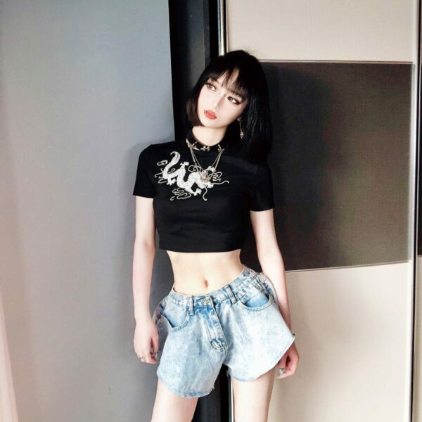 Chinese Dragon Lung Black Crop Top 3- Orezoria Aesthetic Outfits Shop - Aesthetic Clothing - eGirl Outfits - Soft Girl Outfits