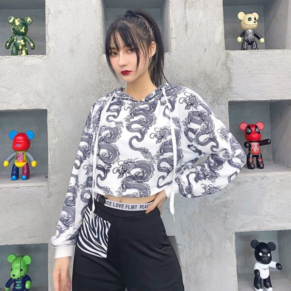 Chinese Dragon Lung Cropped Hoodie 1- Orezoria Aesthetic Outfits Shop - Aesthetic Clothing - eGirl Outfits - Soft Girl Outfits