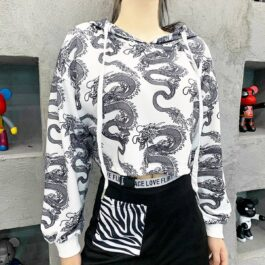 Chinese Dragon Lung Cropped Hoodie 2- Orezoria Aesthetic Outfits Shop - Aesthetic Clothing - eGirl Outfits - Soft Girl Outfits