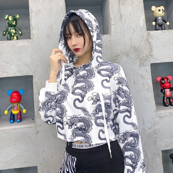 Chinese Dragon Lung Cropped Hoodie 3- Orezoria Aesthetic Outfits Shop - Aesthetic Clothing - eGirl Outfits - Soft Girl Outfits