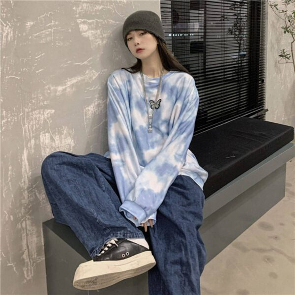 Cloudy Blue Butterfly Sweatshirt 1- Orezoria Aesthetic Outfits Shop - Aesthetic Clothing - eGirl Outfits - Soft Girl Outfits