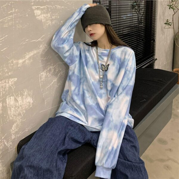 Cloudy Blue Butterfly Sweatshirt 2- Orezoria Aesthetic Outfits Shop - Aesthetic Clothing - eGirl Outfits - Soft Girl Outfits