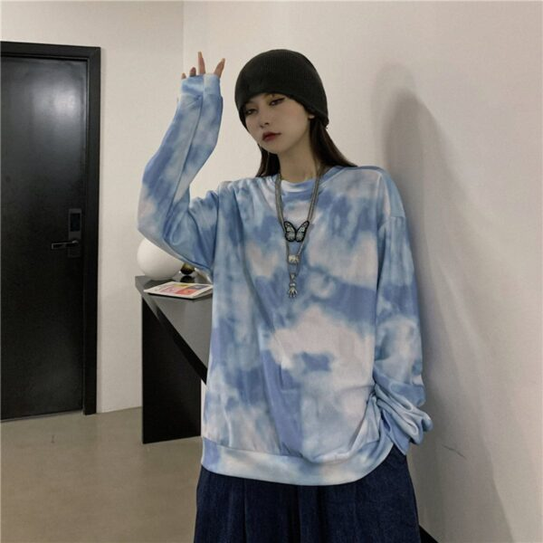Cloudy Blue Butterfly Sweatshirt 3- Orezoria Aesthetic Outfits Shop - Aesthetic Clothing - eGirl Outfits - Soft Girl Outfits