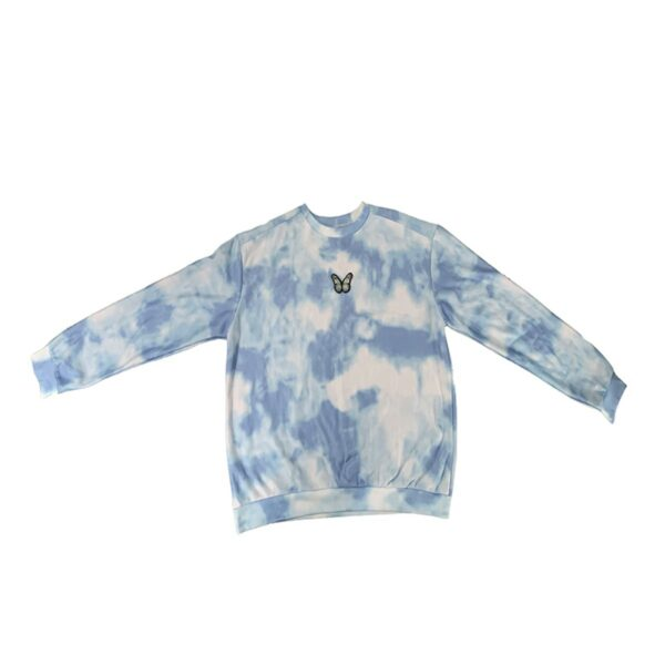 Cloudy Blue Butterfly Sweatshirt 4- Orezoria Aesthetic Outfits Shop - Aesthetic Clothing - eGirl Outfits - Soft Girl Outfits
