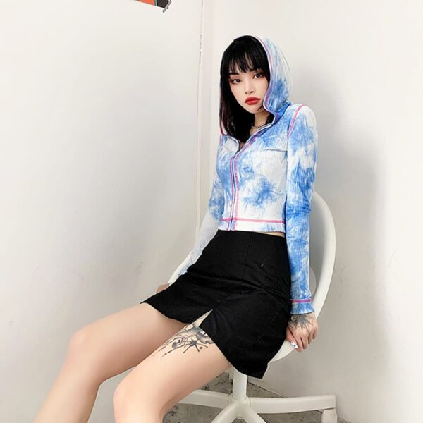Cloudy Blue Front Zipper Hooded Top 3- Orezoria Aesthetic Outfits Shop - Aesthetic Clothing - eGirl Outfits - Soft Girl Outfits