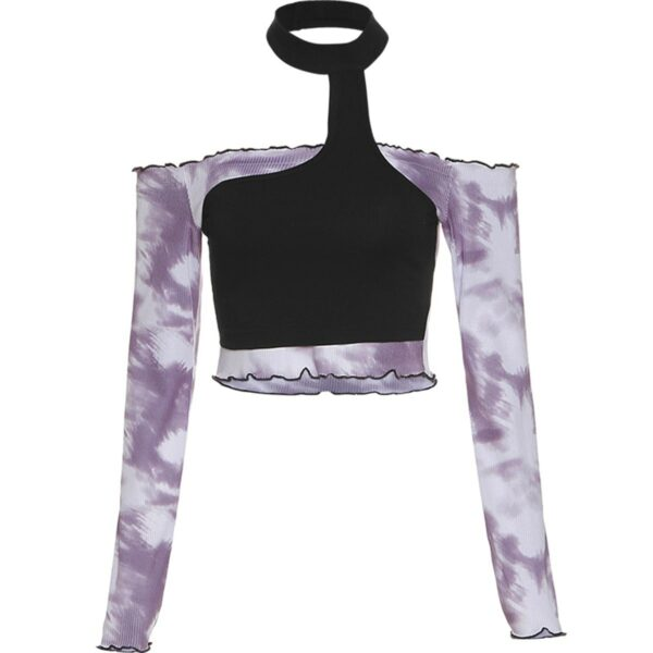 Cloudy Gray Tie Dye Off Shoulder Top 1- Orezoria Aesthetic Outfits Shop - Aesthetic Clothing - eGirl Outfits - Soft Girl Outfits