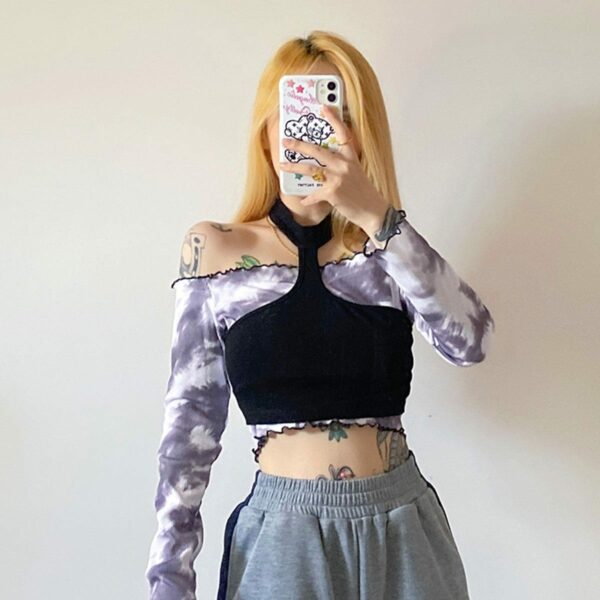 Cloudy Gray Tie Dye Off Shoulder Top 2- Orezoria Aesthetic Outfits Shop - Aesthetic Clothing - eGirl Outfits - Soft Girl Outfits