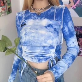 Cloudy Sky Outer Stitches Crop Top - Orezoria Aesthetic Outfits Shop - Aesthetic Clothing - eGirl Outfits - Soft Girl Outfits.psd