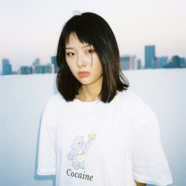 Cocaine Care Bear Meme EGirl T-Shirt 1 - Orezoria Aesthetic Outfits Shop - Aesthetic Clothing - eGirl Outfits - Soft Girl Outfits