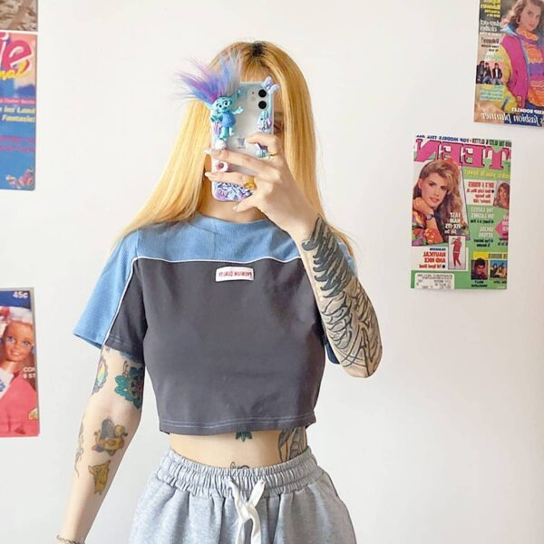 Cold Blue Shoulder Block Crop Top 2- Orezoria Aesthetic Outfits Shop - Aesthetic Clothing - eGirl Outfits - Soft Girl Outfits