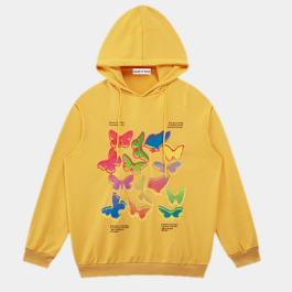 Colored Butterflies Korean Hoodie 2- Orezoria Aesthetic Outfits Shop - Aesthetic Clothing - eGirl Outfits - Soft Girl Outfits