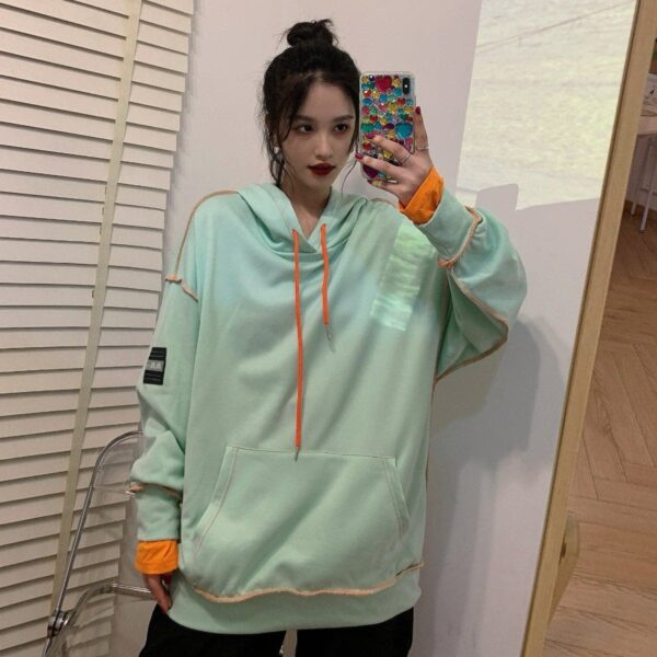 Colored Contrast Seams Korean Hoodie - Orezoria Aesthetic Outfits Shop - Aesthetic Clothing - eGirl Outfits - Soft Girl Outfits.psd