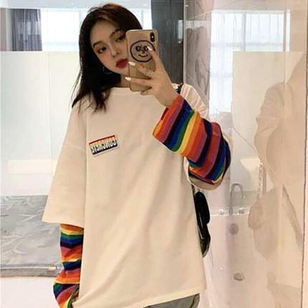 Concrete Rainbow Oversized Long Sleeve 1 - Orezoria Aesthetic Outfits Shop - Aesthetic Clothing - eGirl Outfits - Soft Girl Outfits