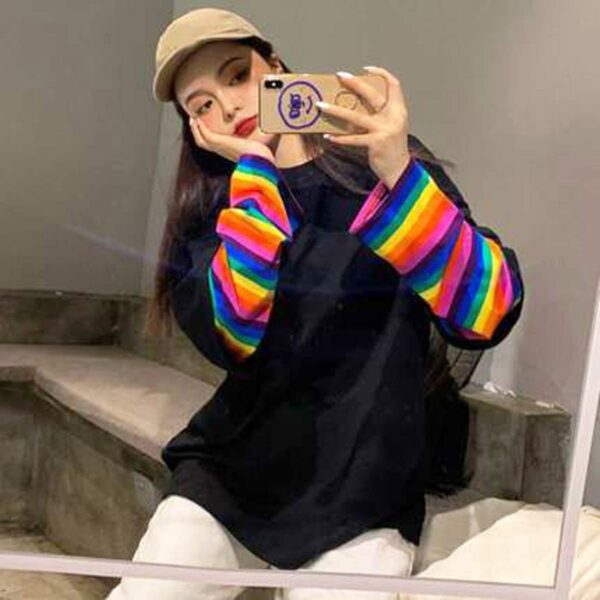 Concrete Rainbow Oversized Long Sleeve 2 - Orezoria Aesthetic Outfits Shop - Aesthetic Clothing - eGirl Outfits - Soft Girl Outfits