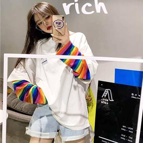 Concrete Rainbow Oversized Long Sleeve 3 - Orezoria Aesthetic Outfits Shop - Aesthetic Clothing - eGirl Outfits - Soft Girl Outfits