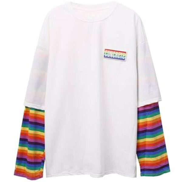 Concrete Rainbow Oversized Long Sleeve 4 - Orezoria Aesthetic Outfits Shop - Aesthetic Clothing - eGirl Outfits - Soft Girl Outfits