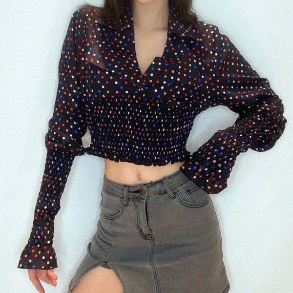 Confetti Polka Dot Cropped Long Sleeve 1- Orezoria Aesthetic Outfits Shop - Aesthetic Clothing - eGirl Outfits - Soft Girl Outfits