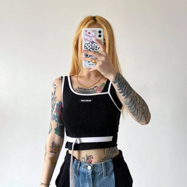 Contrast Belted Cropped Tank Top.1- Orezoria Aesthetic Outfits Shop - Aesthetic Clothing - eGirl Outfits - Soft Girl Outfits