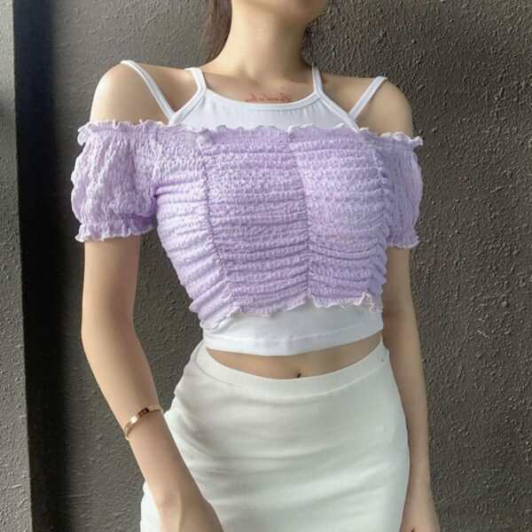 Contrast Off Shoulder Ruffle Two Piece Top 3- Orezoria Aesthetic Outfits Shop - Aesthetic Clothing - eGirl Outfits - Soft Girl Outfits