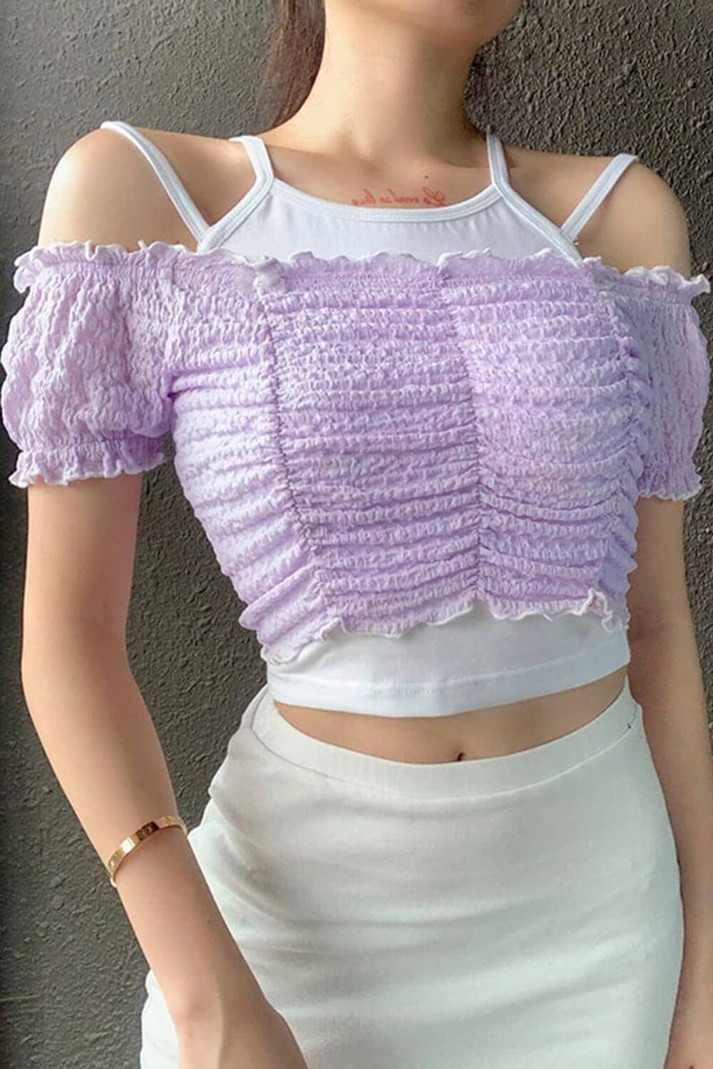 Contrast Off Shoulder Ruffle Two Piece Top