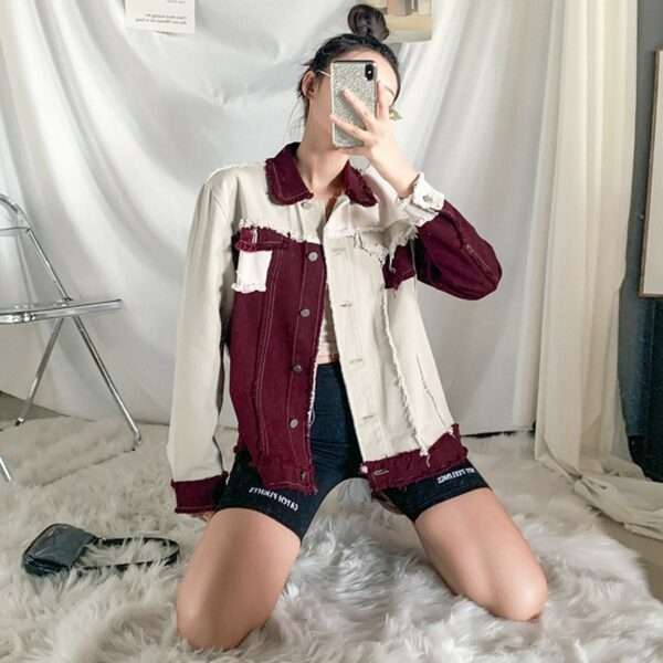 Contrast Sewed Burgundy Denim Jacket 1 - Orezoria Aesthetic Outfits Shop - Aesthetic Clothing - eGirl Outfits - Soft Girl Outfits