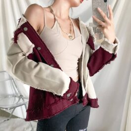 Contrast Sewed Burgundy Denim Jacket 2 - Orezoria Aesthetic Outfits Shop - Aesthetic Clothing - eGirl Outfits - Soft Girl Outfits