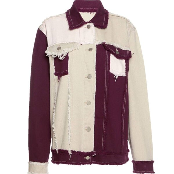 Contrast Sewed Burgundy Denim Jacket 4 - Orezoria Aesthetic Outfits Shop - Aesthetic Clothing - eGirl Outfits - Soft Girl Outfits