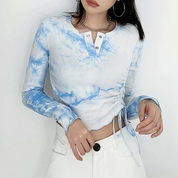 Coudy Light Blue Cropped Long Sleeve 2 - Orezoria Aesthetic Outfits Shop - Aesthetic Clothing - eGirl Outfits - Soft Girl Outfits