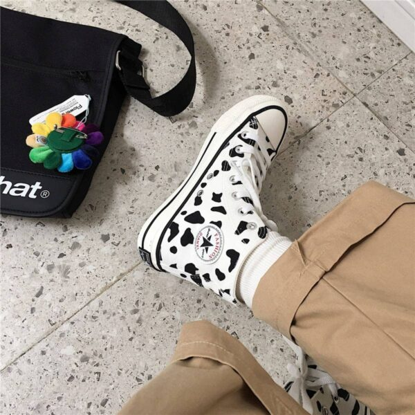Cow Pattern Low Ankle Canvas Shoes - Orezoria Aesthetic Outfits Shop - Aesthetic Clothing - eGirl Outfits - Soft Girl Outfits.psd