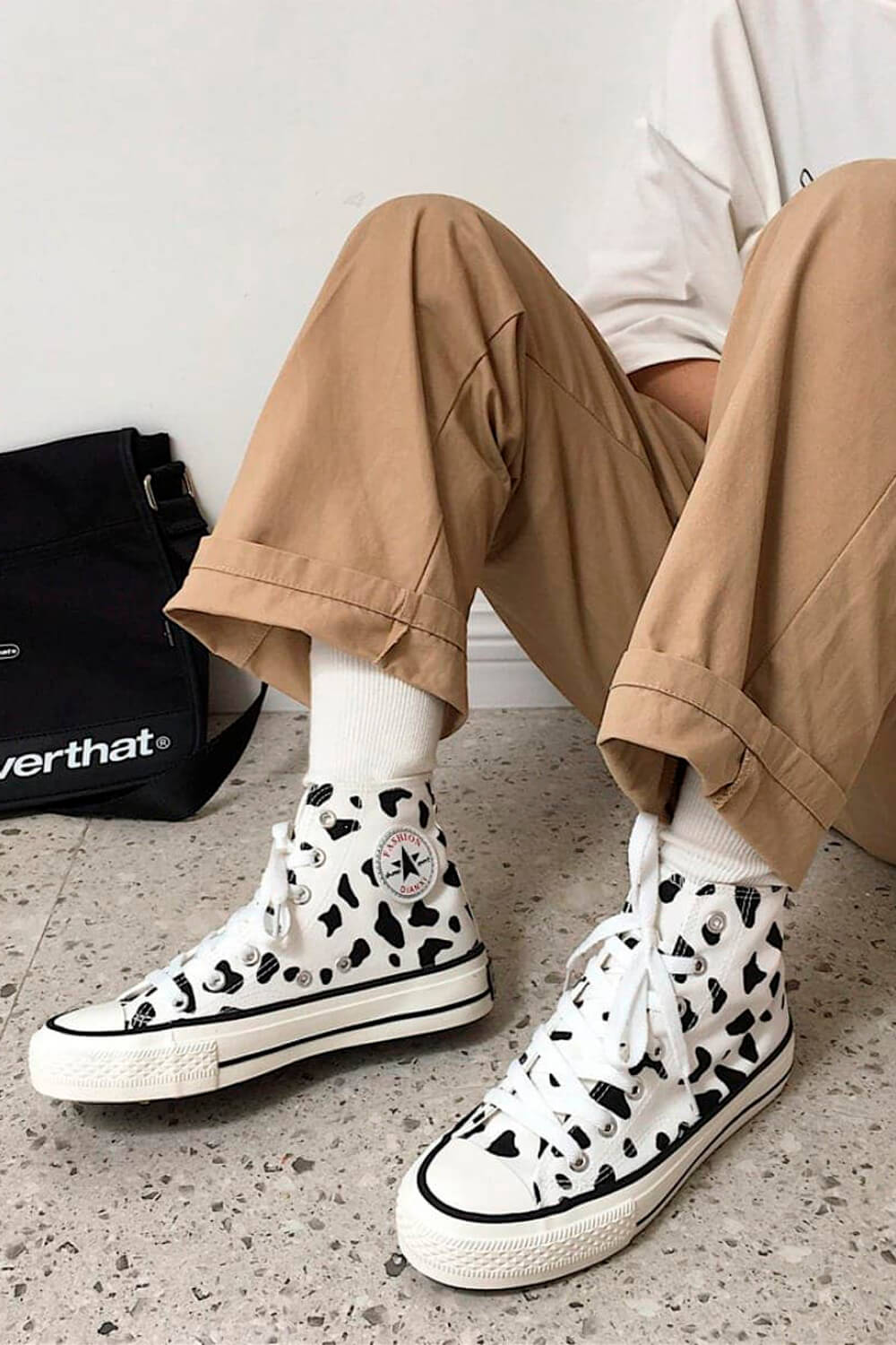 Cow Pattern Low Ankle Canvas Shoes