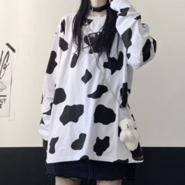 Cow Pattern Oversized Long Sleeve 2- Orezoria Aesthetic Outfits Shop - Aesthetic Clothing - eGirl Outfits - Soft Girl Outfits