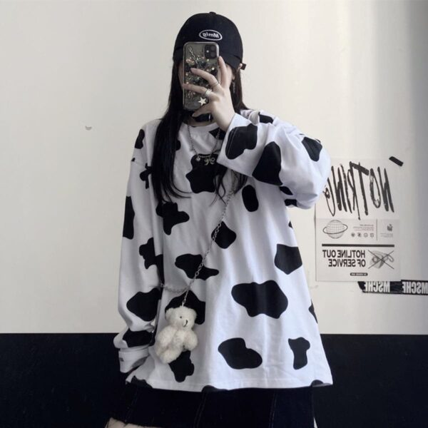 Cow Pattern Oversized Long Sleeve 4- Orezoria Aesthetic Outfits Shop - Aesthetic Clothing - eGirl Outfits - Soft Girl Outfits