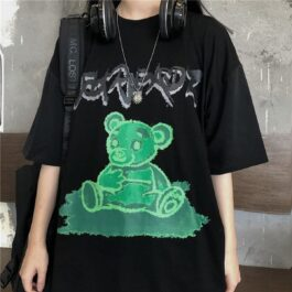 Creen Slime Bear Oversized T-Shirt - Orezoria Aesthetic Outfits Shop - Aesthetic Clothing - eGirl Outfits - Soft Girl Outfits.psd