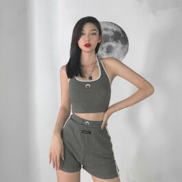 Crescent Moon Aesthetic Gray Top and Skorts Set 1 - Orezoria Aesthetic Outfits Shop - Aesthetic Clothing - eGirl Outfits - Soft Girl Outfits