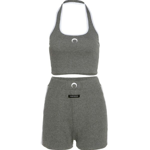 Crescent Moon Aesthetic Gray Top and Skorts Set 4 - Orezoria Aesthetic Outfits Shop - Aesthetic Clothing - eGirl Outfits - Soft Girl Outfits