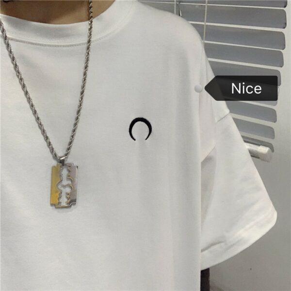 Crescent Moon Embroidery Loose T-Shirt.1- Orezoria Aesthetic Outfits Shop - Aesthetic Clothing - eGirl Outfits - Soft Girl Outfits