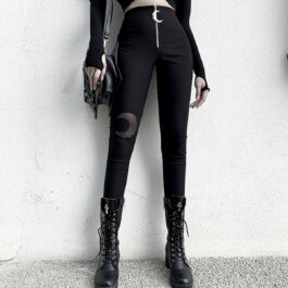 Crescent Moon Hole Knee Mesh Skinny Pants 1- Orezoria Aesthetic Outfits Shop - Aesthetic Clothing - eGirl Outfits - Soft Girl Outfits