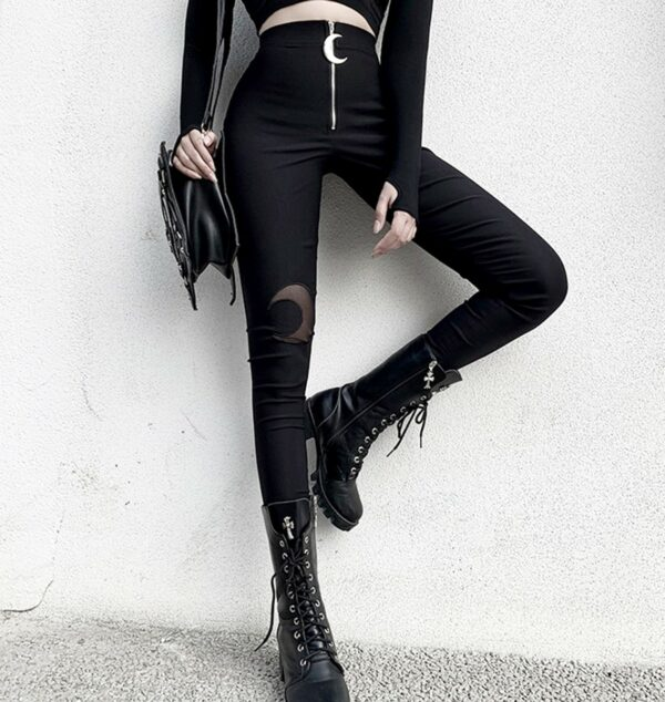 Crescent Moon Hole Knee Mesh Skinny Pants 3- Orezoria Aesthetic Outfits Shop - Aesthetic Clothing - eGirl Outfits - Soft Girl Outfits