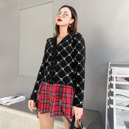 Crescent Moon Net Pattern Black Cardigan 1- Orezoria Aesthetic Outfits Shop - Aesthetic Clothing - eGirl Outfits - Soft Girl Outfits