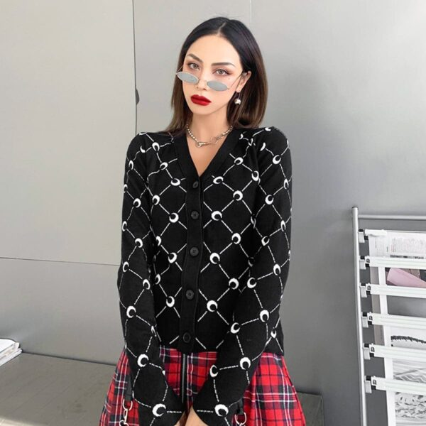 Crescent Moon Net Pattern Black Cardigan 2- Orezoria Aesthetic Outfits Shop - Aesthetic Clothing - eGirl Outfits - Soft Girl Outfits