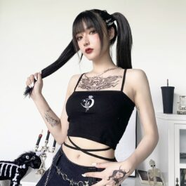 Crescent Moon Rose Goth Core Crop Top 1- Orezoria Aesthetic Outfits Shop - Aesthetic Clothing - eGirl Outfits - Soft Girl Outfits