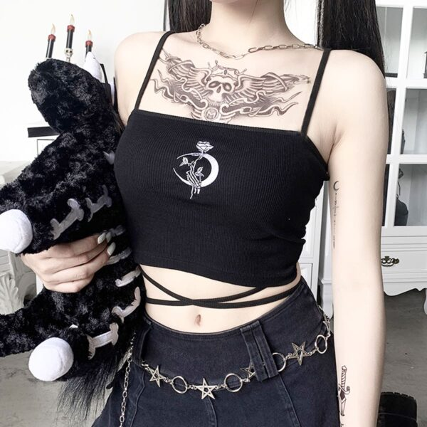Crescent Moon Rose Goth Core Crop Top 3- Orezoria Aesthetic Outfits Shop - Aesthetic Clothing - eGirl Outfits - Soft Girl Outfits
