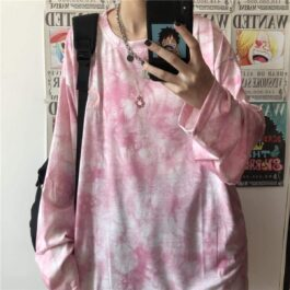 Crescent Moon Tie Dye Loose Long Sleeve - Orezoria Aesthetic Outfits Shop - Aesthetic Clothing - eGirl Outfits - Soft Girl Outfits.psd