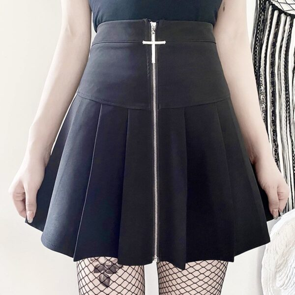 Cross Zipper Black Pleated High Waist Skirt 1- Orezoria Aesthetic Outfits Shop - Aesthetic Clothing - eGirl Outfits - Soft Girl Outfits
