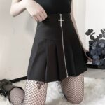 Cross Zipper Black Pleated High Waist Skirt 3- Orezoria Aesthetic Outfits Shop - Aesthetic Clothing - eGirl Outfits - Soft Girl Outfits