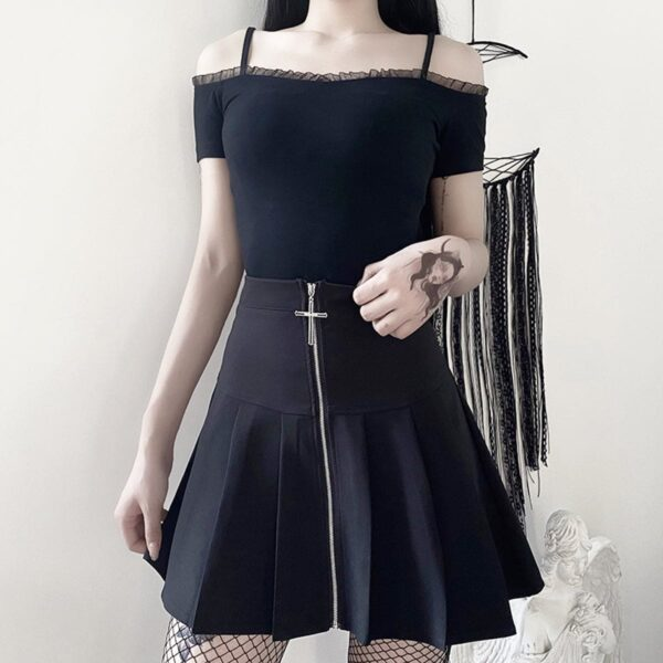 Cross Zipper Black Pleated High Waist Skirt 4- Orezoria Aesthetic Outfits Shop - Aesthetic Clothing - eGirl Outfits - Soft Girl Outfits