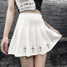 Crosses Embroidery Pleated Goth Skirt 1- Orezoria Aesthetic Outfits Shop - Aesthetic Clothing - eGirl Outfits - Soft Girl Outfits