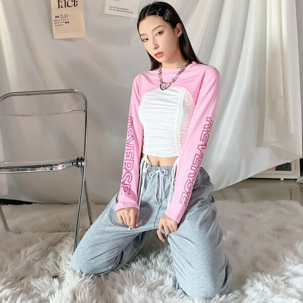 Cuper Cropped Pink Long Sleeve Reverse 3 - Orezoria Aesthetic Outfits Shop - Aesthetic Clothing - eGirl Outfits - Soft Girl Outfits
